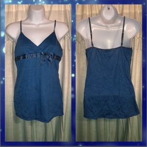 Charlotte Russe Blue Tank Top W/Front Ribbon Bow L